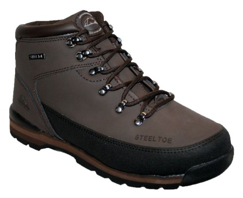 MENS LEATHER UPPERS SMART/CASUAL LACE UP STEEL TOE CAP SAFETY BOOT BROWN 11