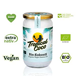 Bio Kokosöl extra nativ 1000ml - Kokosfett vegan | Kokosnuss-Öl kaltgepresst | ohne Zusatzstoffe | Kokosfett zum Kochen, Braten, Backen, für Haare, Körper-Pflege und Haut-Pflege | von Tropical Coco