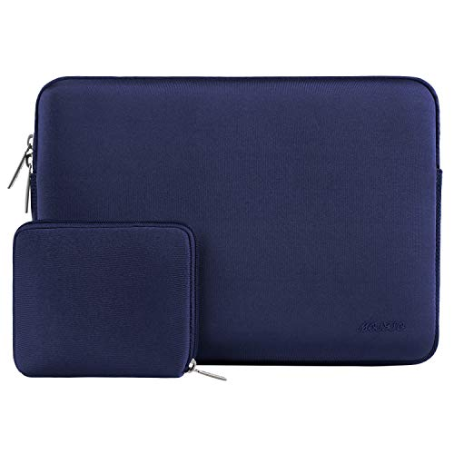 MOSISO Wasserabweisend Neopren Hülle Sleeve Tasche Kompatibel 13-13,3 Zoll MacBook Pro, MacBook Air, Notebook Computer Laptophülle Laptoptasche Notebooktasche mit Kleinen Fall, Navy Blau