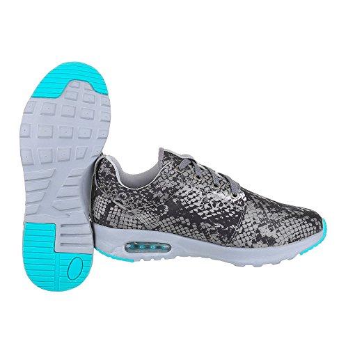 Ital Design Scarpe Sportive Donna Scarpe Sneakers Chiuse Lacci Scarpe Casual Grigio 15-h52285b-