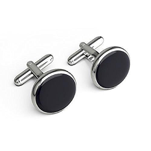 Kairos Elegant Black Enamel Steel Ring Cufflinks (CL-485)