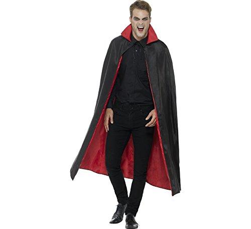 barer Vampir Umhang, 127cm Länge, Schwarz und Rot, 46881 ()