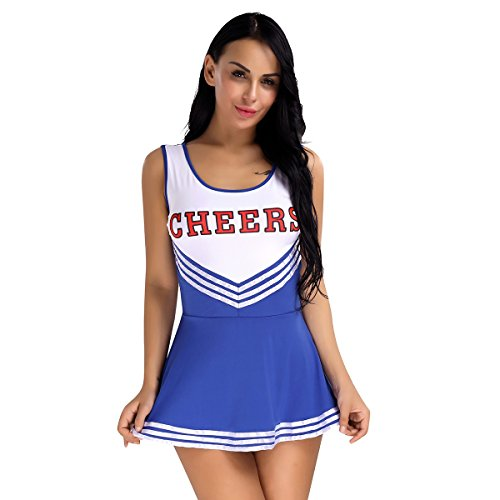 Mädchen Damen Kleid Babydoll Nachtwäsche Cosplay Schulmädchen Kostüm Cheerleader Kleid Dessous Karneval Fasching Halloween Kostüm Blau M (Cheerleader Uniformen Halloween)