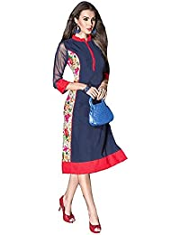 Lords Blue Georgette Stitched Printed With Embroidery Kurti