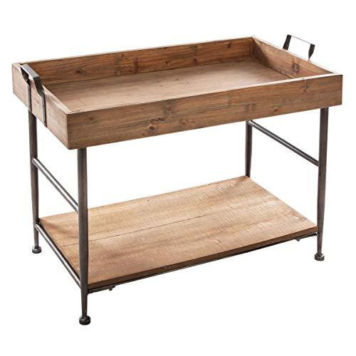 Atmosphera Table Basse rectangulaire à 2 Niveaux - Style Vintage - Coloris Bois