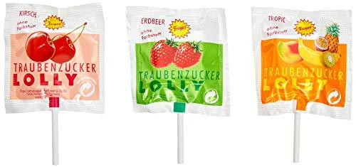 Frigeo Traubenzucker-Lolly in drei Geschmacksrichtungen: Erdbeer, Tropic und Kirsch, 1000 Stück im Eimer (7,5 kg)