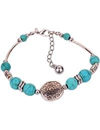 Yazilind joyería con encanto étnicos artesanales de plata granos redondos tibetanos de la turquesa ajustable brazalete de la pulsera de regalo para la Mujer