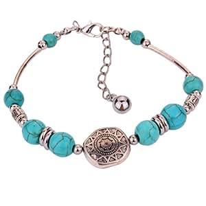 Yazilind bijoux faits main de charme Tibetain Argent perles rondes de turquoise reglable de bracelet de cadeau