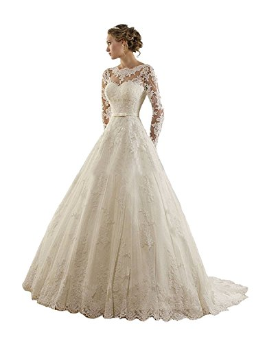 LYDIAGS Women's Jewel Lace Applique Long Sleeves Sash Chapel Train A Line Wedding Dress White UK20