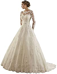 LYDIAGS Womenu0027s Jewel Lace Applique Long Sleeves Sash Chapel Train A Line Wedding  Dress