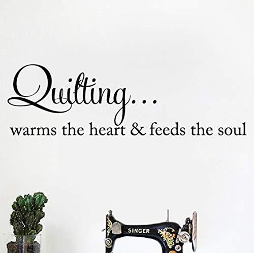Quilten wärmt das Herz Zitat Wandkunst Aufkleber Nähen Quilten Schriftzug Worte Vinyl Aufkleber Kunsthandwerk Raum Wand Kunst Dekor 110x35cm -