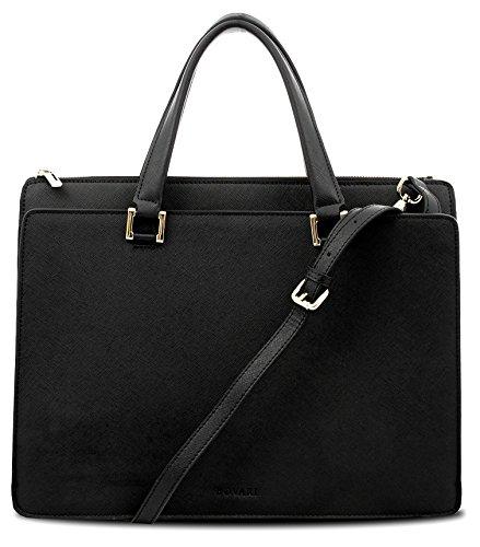 Bovari Victoria Bag Damen Handtasche Schultertasche Umhängetasche (39x29x13 cm) – Saffiano Leder – Schwarz/Black/Noir