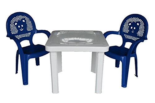 ühle u. Tabelle Resol-Kinder eingestellt - blaue Stühle, weiße Tabelle - (Satz von 2 Stühlen u. von 1 Tabelle) (Kinder-kunststoff-tabelle)