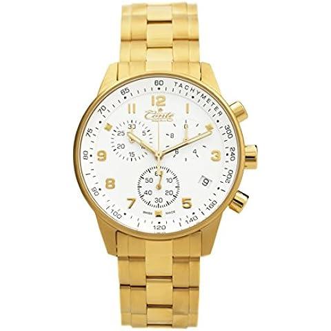 M.Conte unisex orologio cronografo analogico al quarzo Swiss Made oro acciaio EM-G-1510