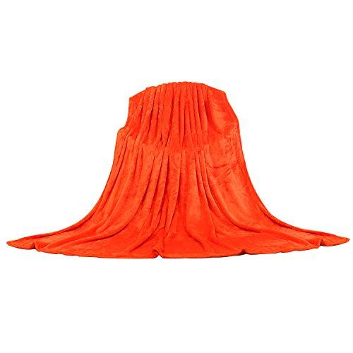 Manta de Viaje, Manta Polar Sofá Cama Cuna Hipoalergénica para Bebé, 240g/m² Franela Sin Pelusa Antiacara, 160x220cm, Naranja