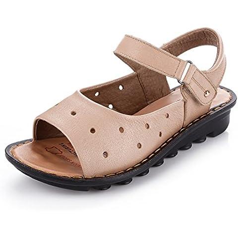Sandali in pelle e mamma/Vecchio sandalo in fondo soffice/Antiscivolo scarpe/Scarpe