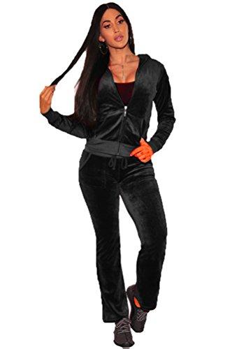 YOUJIA Damen Samt Sport Jogginganzug Trainingsanzug Hoodie Sweatshirt + Jogging Hosen 2PCS Sport Outfit Set (Schwarz, CN M) (Damen-frottee-trainingsanzug)