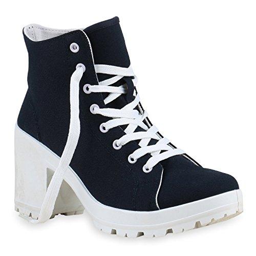 Damen Pumps Schnürpumps Plateau High Heels Schuhe, Dunkelblau Weiß, 37 EU