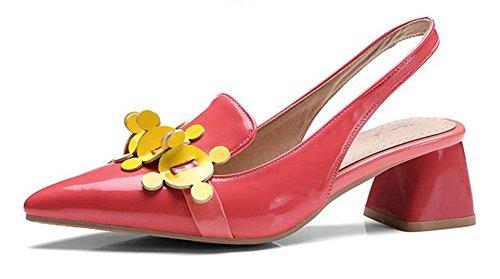 SHINIK Damen Spitz-Zeh Pumpe Lackleder Flache Mund Flache Ferse Schuhe Personalisierte Schuhe Slingback Sandalen Red
