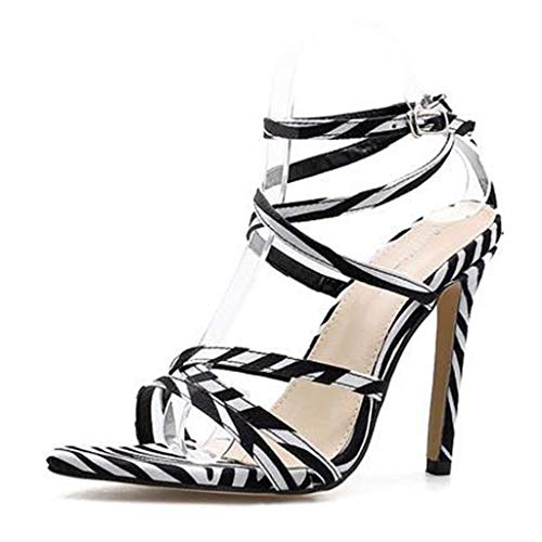 MAKAFJ Damenmode Spitz Stilettos High Heel Ankle Strap Pumps Pumps Pumps für die Abendgesellschaft,Zebra pattern-37 - Zebra Formale Kleider