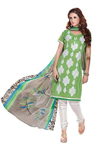 Green Salwar Kameez Chanderi Silk Chudidar Suit