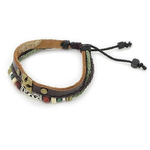 3-Strand cuir v¨¦ritable bracelet r¨¦glable / Bracelet avec Anneaux, Cross & Barrel Charm