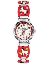 Trendy Kiddy - KL 274 - Montre Fille - Quartz Analogique - Cadran Multicolore - Bracelet Métal Rouge