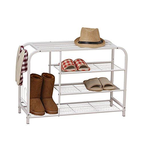 YNN Schuh-Weiße Schuh-Bank 3-stöckige Eisen Shoebox-Regale für Wohnzimmer-Schlafzimmer-Hallen-Foyer (3-regal Master)