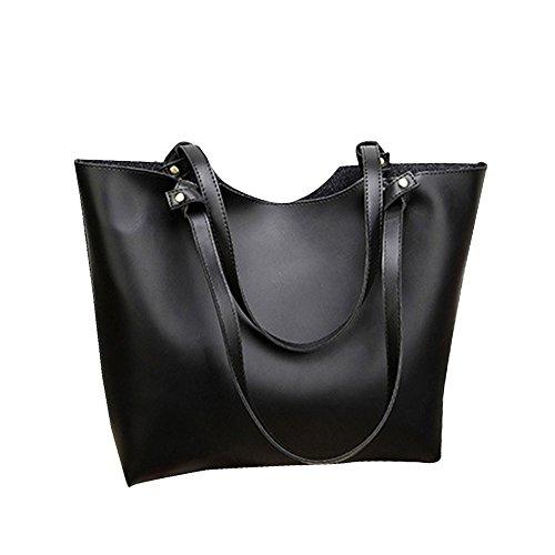 Wenyujh Damen Handtasche Set Eleganter PU Leder Tasche Umhängetasche Schwarz