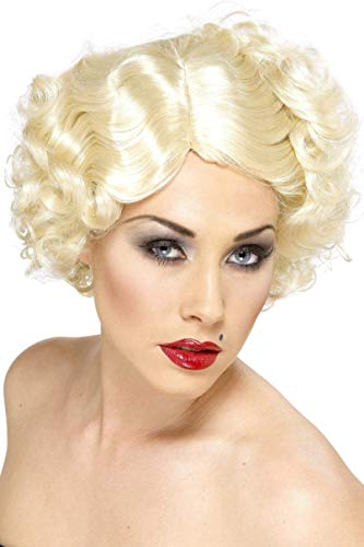 Smiffys Damen Hollywood Ikone Perücke mit Locken, One Size, Blond, - Hollywood Star Fancy Dress Kostüm