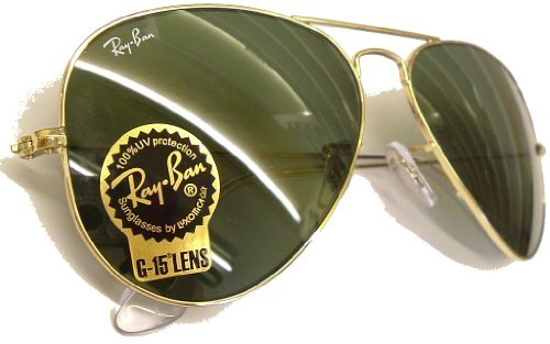Ray Ban 'Large Metal Aviator' Sonnenbrillen 3025 ~ 62mm Größe ~ Gold Farbe Brillenfassungen mit G15 Sonnenschutzglas