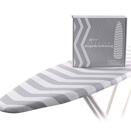 KIBAGA Premium Housse de Table à Repasser en Coton pour Fer à Repasser à Vapeur 120 x 40 cm – Facile à Fixer – avec Rembourrage spécial pour Un Repassage Facile