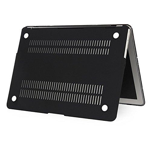 Se7enline Sanfte Schutzschale, Kunststoff, mit schwarzem Tastaturschutz aus Silikon und transparenter Displayschutzfolie, Design: schwarze Kreise, für Macbook Marble Pattern Black