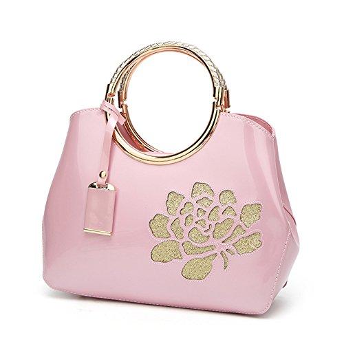 FavoMode, Borsa a mano donna arancione Orange Handbag taglia unica Pink Handbag with Flower
