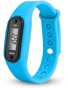 BeautyTop Run Step Uhr Armband Schrittzähler Kalorienzähler Digital LCD Walking Distance (Blau)