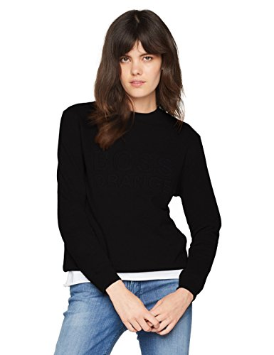BOSS Casual Damen Langarmshirt Talogo 10199623 01, Schwarz (Black 001), Small