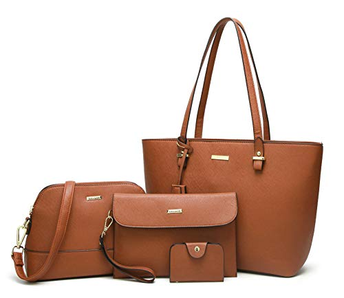ELIMPAUL. Women Fashion Handbags Top Synthetic Leather Shoulder Bag Purse Card Holder Tote Bag Set 4pc (Brown) -