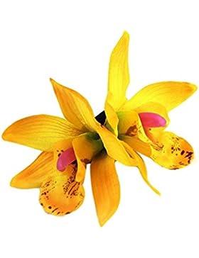 Horquilla, Challeng Mariposa tela de orquídeas Bohemia tocado playa flores pinzas para el cabello Guirnalda hecha...