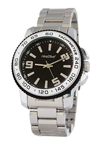 nine2five aprd07slng Hombres del Acero Inoxidable Plata Barcelet Band Negro Dial Reloj