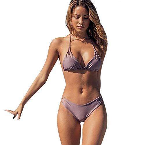 4b23f6bf2e Lialbert Moda Donna Sexy Fasciatura Bikini Tinta Unita Costume da Bagno Due  Pezzi Abiti da Mare