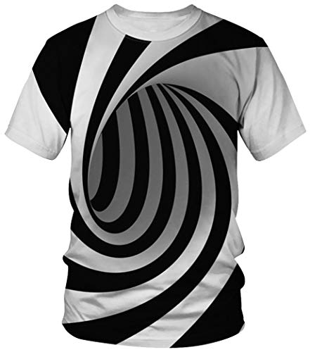 Ocean Plus Unisex Rundhals Sportswear T-Shirt Kostüm mit Aufdruck Fasching Größen S-3XL Tops mit Kurzarm (3XL (Referenzhöhe: 180-185 cm), Wirbelstreifen)