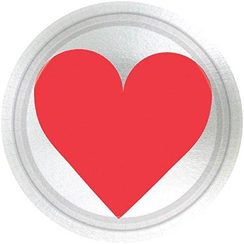 8 kleine Herz Teller metallic