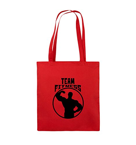 Comedy Bags - TEAM FITNESS - Jutebeutel - lange Henkel - 38x42cm - Farbe: Schwarz / Silber Rot / Schwarz
