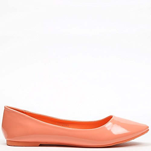 Ideal Shoes–Ballerinas VERNIS klassischen Patsy Orange