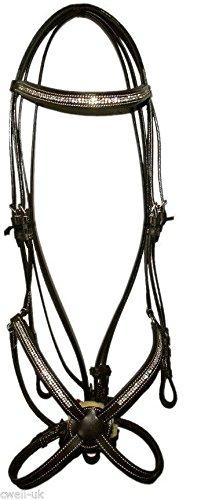 Cwell Equine Leder-Zaumzeug, mexikanisches Reithalfter, mit Kristallsteinen, mit Zügeln, für Pferde und Ponys, Schwarz