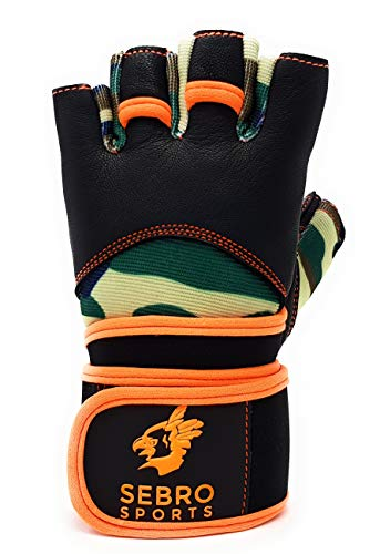 SEBRO SPORTS Trainings-Handschuhe mit Handgelenk-Bandage für Damen und Herren | aus Leder | Für Kraft-Sport, Fitness, fingerlos mit Klettverschluss für Schutz und Griff-Kraft im Training