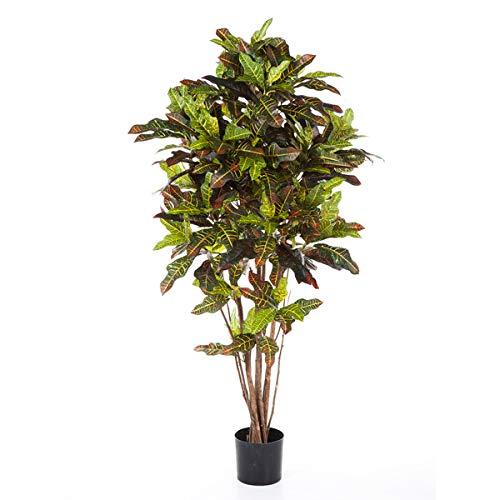 artplants Set 'Kunstpflanze Kroton + Gratis UV Schutz Spray' – Künstlicher Kroton BEQA, Echtstämme, bunt, 150 cm