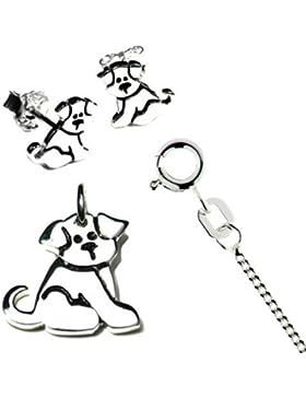 Kinderschmuck-Set kleiner Hund, Kinderohrstecker, Kinderkette mit Anhänger poliert Ø 15 x 16 mm, Panzerkette 925...