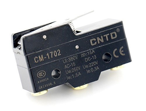 Woljay Limit Micro Switch Snap Action Kurzschlusshebel 250VAC 15A SPDT Momentan CM-1702 CE (Snap-action Switch)