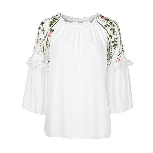 Yesmile Damen Blusen Frauen Herbst Elegante Stickerei Arbeit Büro Casual Langarm Shirt Bluse Top...